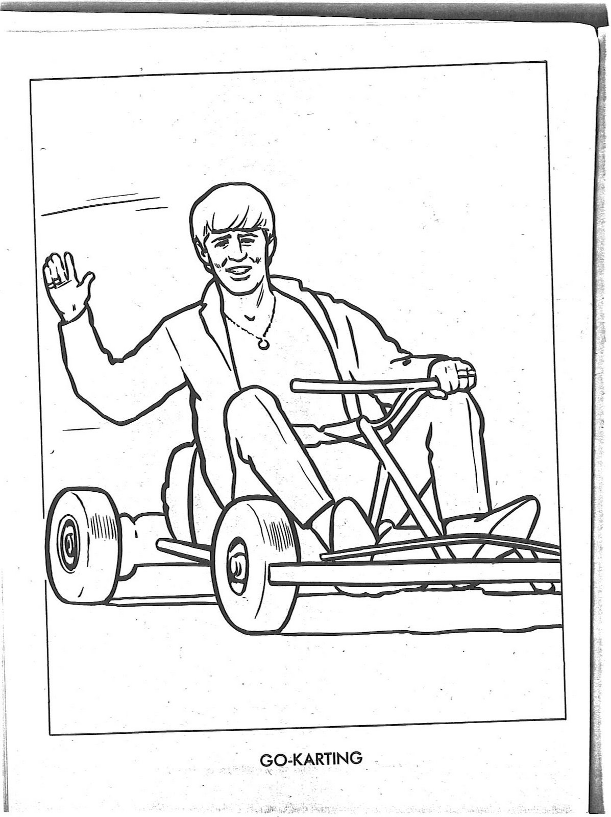 Ringo on a go-kart coloring book page | All Conference Vintage